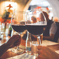 Two Wine Celebration Glasses Cheers